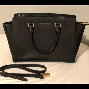 Michael Kors Selma Large Leather Satchel Bag Black